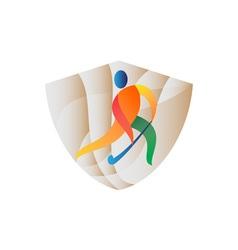 Field Hockey Player Shield Retro vector image vector image
