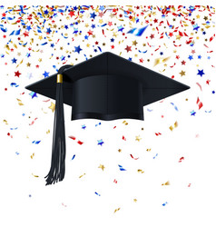 Graduate Cap on a Background of Multicolor vector image vector image