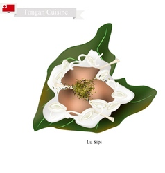 Lu sipi or tongan meat with coconut in taro leaves vector