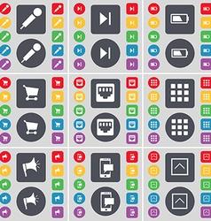 Microphone media skip battery shopping cart lan vector