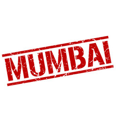Mumbai red square stamp vector