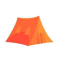 orange tent tourist equipment vector image