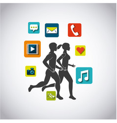 People running design vector
