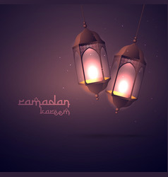 Ramadan kareem greeting with hanging lamps vector