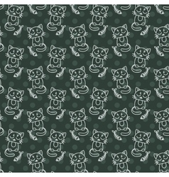 Seamless pattern of cute cat characters fishbone vector