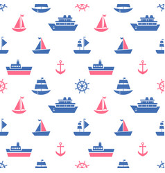 Seamless pattern with blue and red sea transport vector