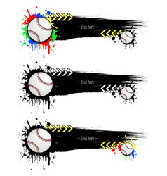 Set grunge banners with blots and baseball balls vector