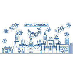 Spain zaragoza winter city skyline merry vector