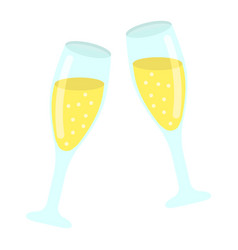 Two glasses of champagne flat icon valentines day vector