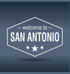 welcome to san antonio hexagonal white vintage vector image