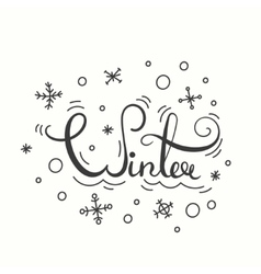 Winter poster with lettering vector