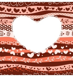 Love Valentines Day Card on Waves Lines Seamless vector image
