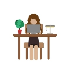 Woman sit in desk with computer and lamp vector