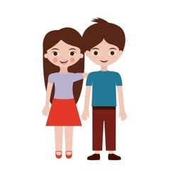 Couple of children in clothing casual vector