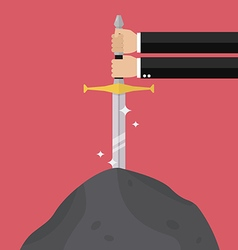 Businessman hand try to pull sword from stone vector