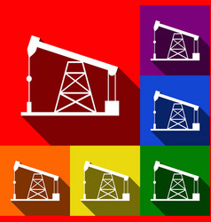 Oil drilling rig sign  set of icons with vector