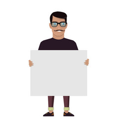 cartoon character on a white background man keeps vector image