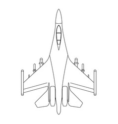 Fighter aircraft outline military equipment icon vector