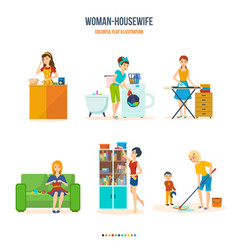 Woman housewife in bathroom kitchen bedroom vector