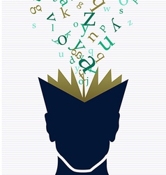 Human head book words concept vector image