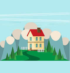 House flat style mountains and trees vector