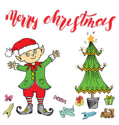 Merry chistmas lettering hand drawn with elf vector