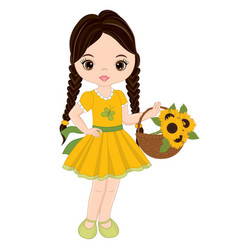 Cute little girl with basket of sunflowers vector