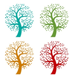 Set of colorful season tree icons vector