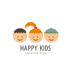 3 kids faces funny cartoon boys and girl vector image