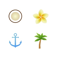 Set of tropical icons vector