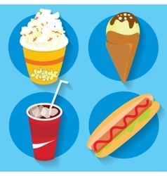 Set of icons fast food popcorn ice cream cola hot vector