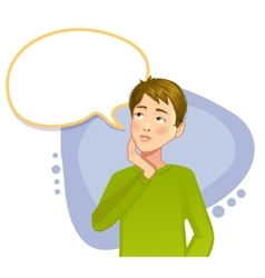 Thinking boy with speech bubble vector