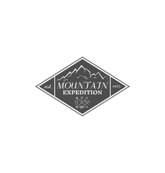 Vintage mountain expedition climbing hiking vector