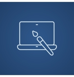 Laptop and brush line icon vector