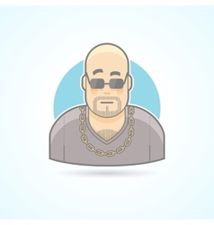 Nightclub bouncer security chief bodyguard icon vector