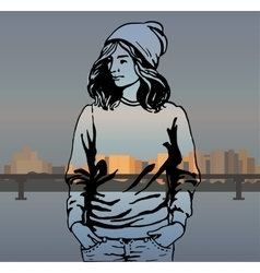 Girl in fashionable clothes hipster vector
