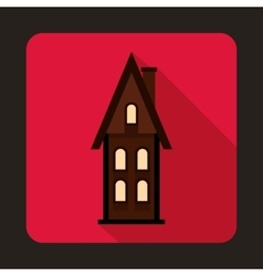 Two storey cottage icon flat style vector