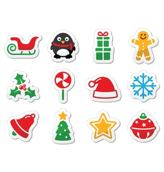 Christmas icons as labels vector