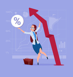 Business woman hold red arrow up financial success vector