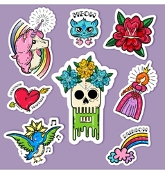 Cartoon tattoo stickers set vector