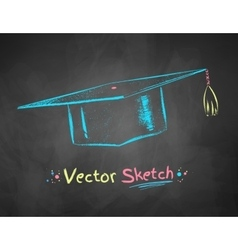 Chalk drawn mortarboard vector
