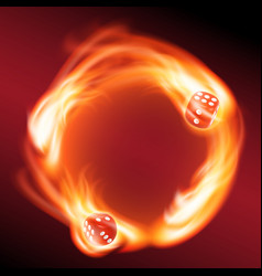 Circling two red dice in fire vector