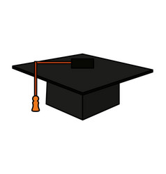 Color image cartoon black graduation cap vector