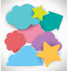 colorful clouds and stars on white background vector image