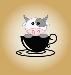 cow logo coffee vector image