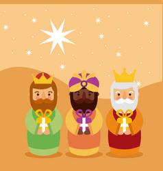 Feliz dia de los reyes three magic kings bring vector