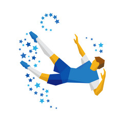 Football player kicking the ball in jump vector