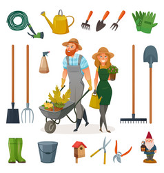 gardening cartoon icon set vector image