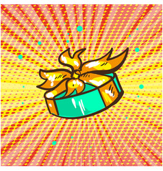 gift floating pop art retro comic style vector image vector image