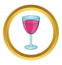 Glass of red wine icon vector